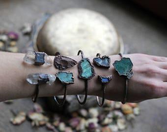 raw, Druzy agate bracelet, electroformed bracelet, electroformed jewelry, earthy jewelry, bohemian gypsy, druzy amethyst