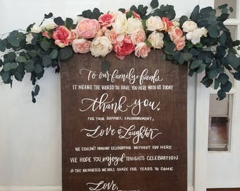 Custom Wedding Thank You Sign, Wooden Wedding Sign, Ceremony Decor, Reception Wedding Signs, Mulberry Market Designs