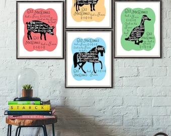 Old MacDonald Farm NURSERY DECOR - Farm Animal Nursery, Cow Pig Duck Horse, Nursery wall art for boy for girl, Nursery Rhyme, Silhouette