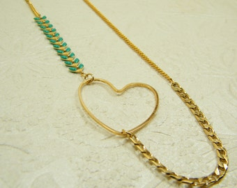 Heart necklace, Gold plate necklace, Blue chain necklace, Long necklace, Big heart pendant, Gift for her, Anniversary heart necklace
