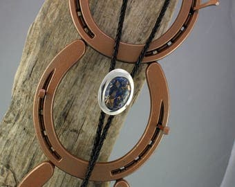 Western Bolo Tie - Lapis Lazuli & Bronze Bolo Tie -Cowboy Bolo Tie - Sterling Silver Bolo Slide with a Lapis Lazuli and Bronze Stone