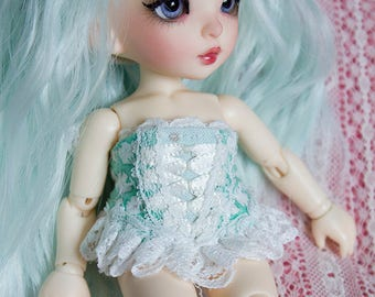 Green lace corset for Pukifee and similar sized dolls