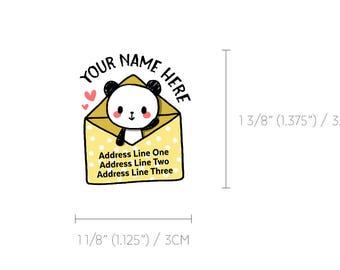 Cute Panda Kawaii Yellow Polkadot Snail Mail Custom Mailing Address Labels