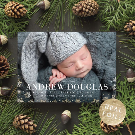 Christmas Card Birth Announcement with Gold Snowflakes, Foil Christmas Cards for Newborn Photo, Winter Birth Announcement with Gold Foil
