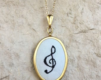 Treble Clef Musical Hand Embroidered Necklace