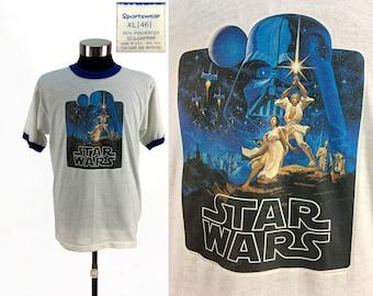 Vintage 1977 OG Star Wars Ringer T-Shirt XL (modern Large) // Rare // Original // 1970s // 50-50 // 70s // Luke // Dark Vader // Leia