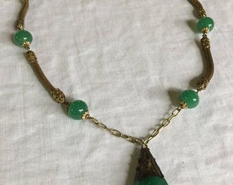 """Green Jade Glass Necklace 1920's - 19"""""""