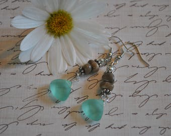Petoskey stone bead and faceted blue beach glass earrings, Up North Michigan, Lake Michigan