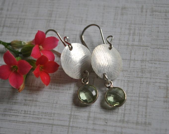 Sterling silver dangling earrings, textured metal earrings, green, artisan earrings