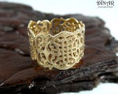 Celtic band 14k solid Gold, Celtic knot lace ring , celtic design, Wide Statement gold ring , gold lace ring, celtic weddign band, DINAR