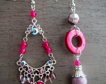 Mismatched Earrings, Pink Earrings, Fancy Earrings, Jewelry, Feminine Jewelry, Jewelry, OOAK Earrings, Boho Earrings, Asymmetric Earrings