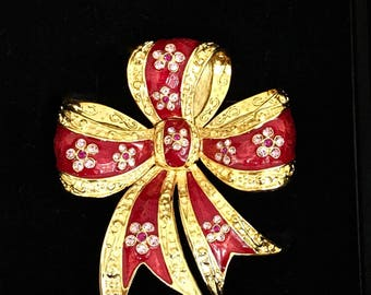 Joan Rivers Red Bow Pin Brooch with Crystals -           - S2177