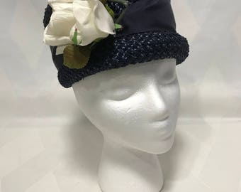 Vintage 1960s Tall Navy Pillbox ot Toque Style Hat Synthetic Straw with White Floral Decoration