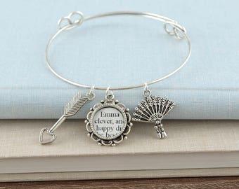 Jane Austen Emma Bracelet – Literature Jewelry – Jane Austen Jewelry – Bangle Bracelet – Jane Austen Bracelet – Literary Gifts