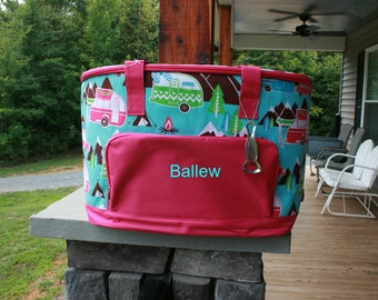 Personalized Happy Camper Large Cooler Bag Monogrammed Insulated Tote