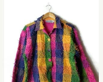 ON SALE Vintage Colorful Block checked fringed Cotton Button Down Jacket from 90s*