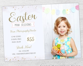 Easter Photography Marketing Board Template, Easter Mini Session Template, Photography Marketing, Photoshop Template, Photographer, 06-002