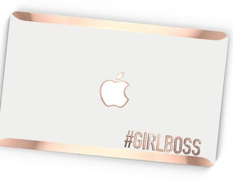 Girlboss Stikē - Embossed Rose Gold Letters Decal - Add Touch of Personality and glamour for your Macbook - Platinum Edition - Stike