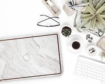 White Marble and Primavera Rustic Wood Edge Hybrid Hard Case for Apple Mac Air & Mac Retina , New Macbook 2016 - Platinum Natural Series