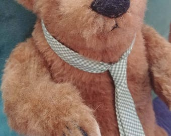 """Handsome Teddy Bear by Bearly There signed by Linda Spiegel 12"""""""