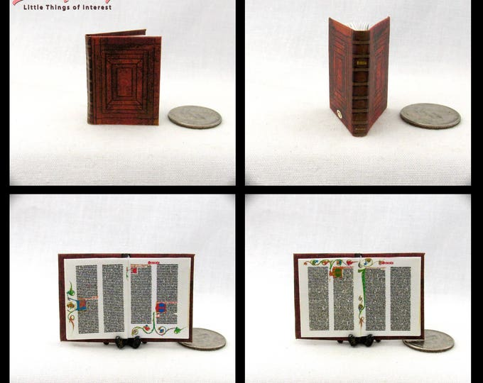 GUTENBERG ILLUMINATED BIBLE Miniature Book Dollhouse 1:12 Scale Latin Manuscript Illustrated Book 1455 Printing Press