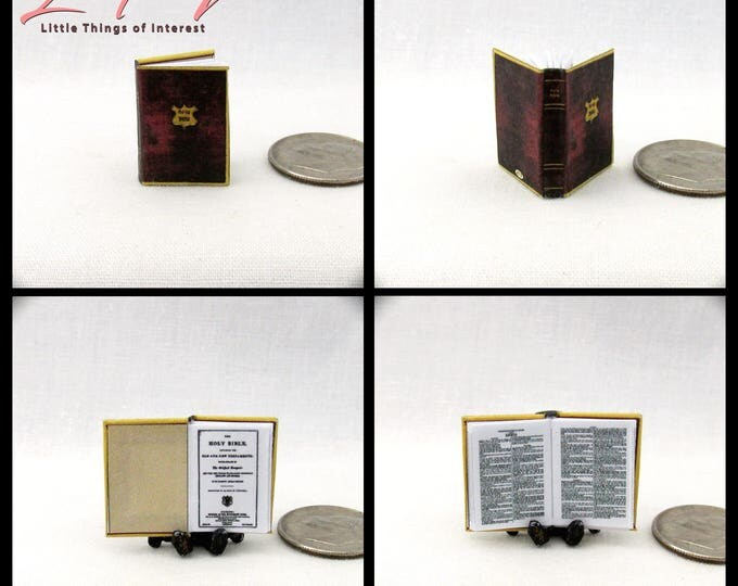 KING JAMES HOLY Bible Miniature Book 1:12 Scale Dollhouse Book Christening Wedding Confirmation Mass Church Christ President Inauguration