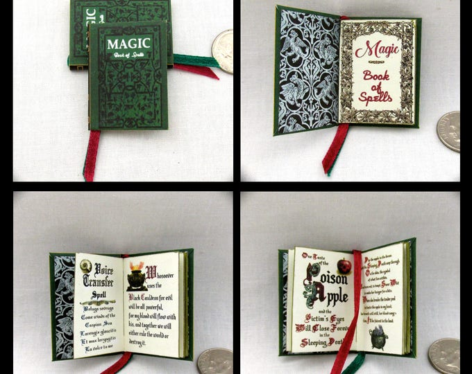 MAGIC BOOK of SPELLS 1:6 Scale Readable Illustrated Book Play Scale Book Barbie Book Spells, Potions and Charms Wizard Witch Fortune Teller