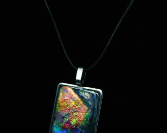 Storyteller. Unique fused glass pendant. One of a kind.