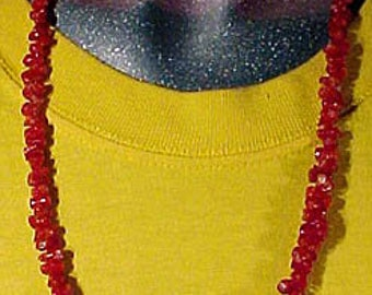 """Deep Red Branch Coral 24-3/4"""" Necklace 14k Yellow Gold Fittings"""