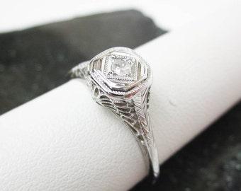 Art Deco Ring,18K White Gold Ring, Filigree Diamond Ring, French 1930s Ring, Diamond Engagement Ring, 3pt. Diamond, 2mm. Diamond Solitaire.