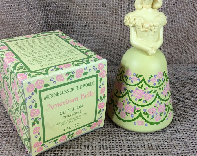 Avon collectibles, Avon Belles of the world, Cotillion cologne, American Belle Avon collectible, Yellow Avon collectible, Yellow figurine