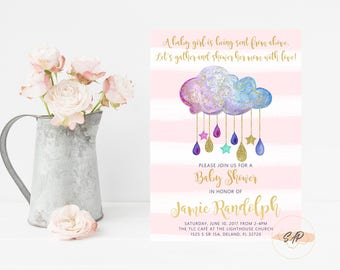 rain drop baby shower baby shower invitation girl baby sprinkle