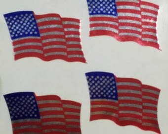 Sandylion Foil American Flag Stickers for Scrapbooking 4 per Sheet