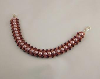 Rose Swarovski Crystal and Pearl Bracelet
