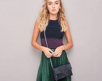Chic handbag / black clutch purse / standout shoulder bag / urban accessory / statement piece / fresh black vinyl / clutch & shoulder bag