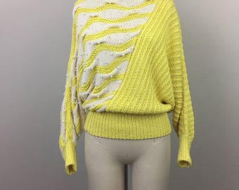 Vintage 80s Yellow White Asymmetrical Sweater Cotton Angora Pearls S/M