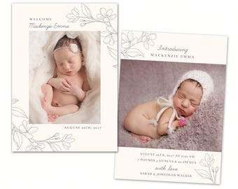 Birth Announcement Template - Baby Newborn Card Photoshop Template for Photographers - CB126 5x7 card - INSTANT DOWNLOAD