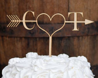 Rustic Arrow Cake Topper, Initials Cake Topper, Rustic Wedding Cake Topper Ideas, Boho Cake topper, Wedding Cake Decorations