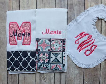 Personalized Monogrammed Girl's Burp Cloth and Bib Set, Navy Pink Custom Burp Cloth Set, Baby Girl Gift, Monogrammed Baby, New Baby