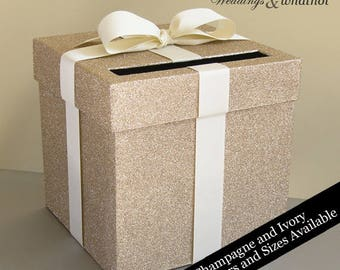 Champagne Glittered and Ivory Ribbon Wedding Card Box with Bow-Choose your color and size