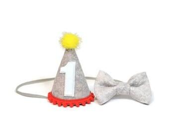 Boy Felt Birthday Hat and Bow Tie set ||  First Birthday Party Hat || 1st Birthday Hat || Birthday Party Hat