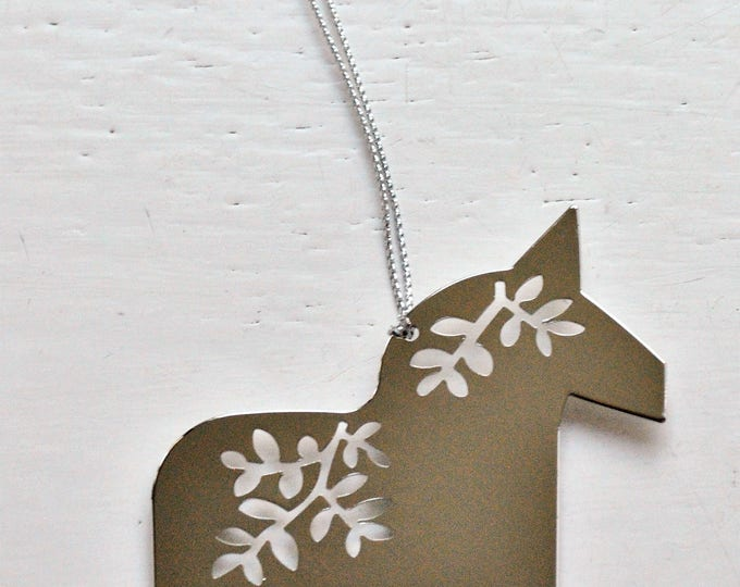Swedish Dala Horse Metal Ornament Modern Christmas Jul