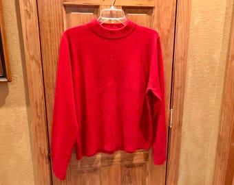 Red Mock Turtleneck Sweater, Size L, by Sag Harbor
