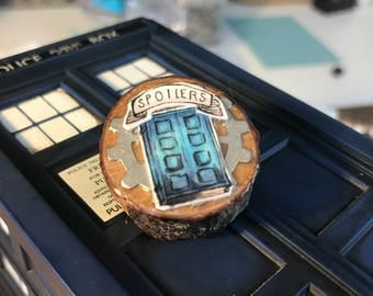 Doctor Who Wooden Handmade Pin - River Song Journal