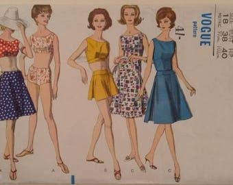 "Vogue #5489 Vintage 60's Bikini, Playsuit, Crop Top, Sleeveless Singlet Vest and Skirt 2 Lengths Sewing Pattern Size UK 16 Bust 38"""