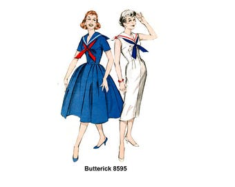 """Vintage 50's Butterick 8595 Pin Up Sailor Fitted or Full Skirt Sewing Pattern Bust 34"""" UK 12"""