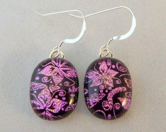 Pink and Black Earrings, Fused Glass,  Dangle Earrings, Glass Earrings, Fused Glass Earrings, Dichroic Earrings, Flower Earrings, Pink