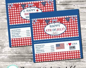 Red White and Blue Patriotic Candy Bar Chocolate Bar Wrappers Favor Print Your Own