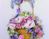 Ribbon Embroidered Picture Flowers in the basket  Embroidery picture Ribbon work 3D Purple Straw basket flowers  violet 3D picture for frame