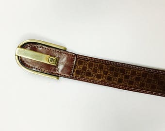 Original AB belt vintage 70s, 70s, leather, real, suede leather, brass